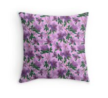 A watercolor seamless pattern of pink rhododendron flowers, branches of green leaves Throw Pillow
