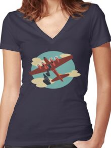 Knockout Dropper Women's Fitted V-Neck T-Shirt