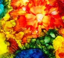 Floral Jumble alcohol ink painting Sticker