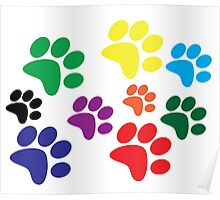 Colorful dog paw prints. Poster