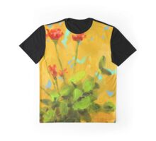Flowers on Yellow Graphic T-Shirt