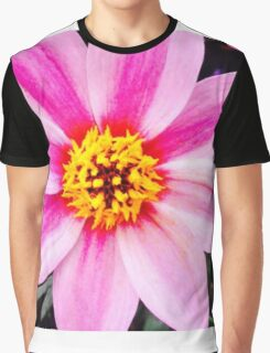 Yellow And Pink Flower Graphic T-Shirt
