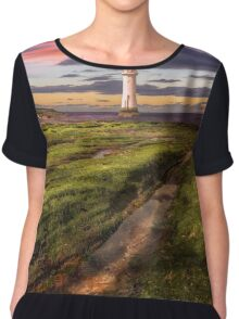 Perch Rock Lighthouse Sunset Chiffon Top