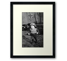 German Babe Playing Soldier During WW2 Framed Print