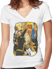 LeBron James Blocking Andre Iguodala- 2016 NBA Finals Women's Fitted V-Neck T-Shirt