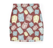 Contour funny owls seamless pattern. Ink splashes owl. Cute animal. Mini Skirt