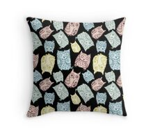 Contour funny owls seamless pattern. Ink splashes owl. Cute animal. Throw Pillow