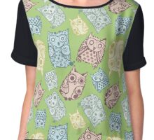 Contour funny owls seamless pattern. Ink splashes owl. Cute animal. Chiffon Top