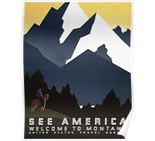See America Welcome To Montana vintage Travel Poster Poster