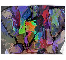 Two Glasses One Bottle Abstract Poster