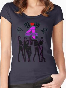 ♥♫SaRangHaeYo(Love) Hot Fabulous K-Pop Girl Group-4Minute Clothes & Phone/iPad/Laptop/MackBook Cases/Skins & Bags & Home Decor & Stationary & Mugs♪♥ Women's Fitted Scoop T-Shirt