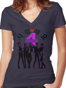 ♥♫SaRangHaeYo(Love) Hot Fabulous K-Pop Girl Group-4Minute Clothes & Phone/iPad/Laptop/MackBook Cases/Skins & Bags & Home Decor & Stationary & Mugs♪♥ Women's Fitted V-Neck T-Shirt