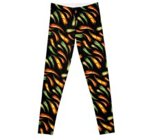 Watercolor seamless hand drawn pattern with red hot chilli peppers.  Leggings