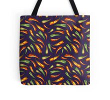 Watercolor seamless hand drawn pattern with red hot chilli peppers.  Tote Bag