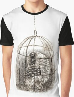 Black Owl in a Birdcage Graphic T-Shirt