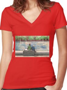 cute kids in the park Women's Fitted V-Neck T-Shirt
