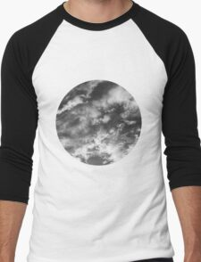 Cloudy Skies 2 black and white Men's Baseball ¾ T-Shirt