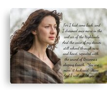 Outlander Quote/Jamie & Claire Fraser Canvas Print