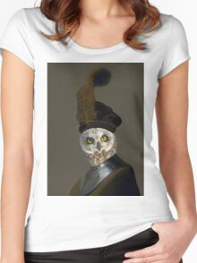 The Owl General - Photographic Composite Women's Fitted Scoop T-Shirt