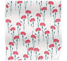 pink carnation on pale blue Poster