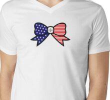 American Flag Bow Mens V-Neck T-Shirt