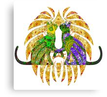 Hearts Of Green And Purple  Canvas Print