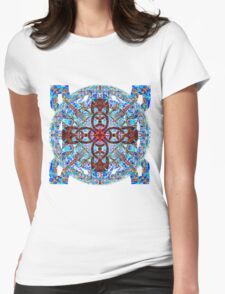 Hot Cross Pattern Over Cold Knots Womens Fitted T-Shirt