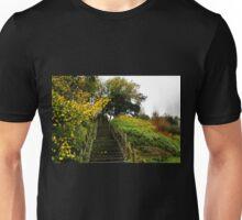 Golden  leaves by the steps in Lyme Gardens, Dorset UK Unisex T-Shirt