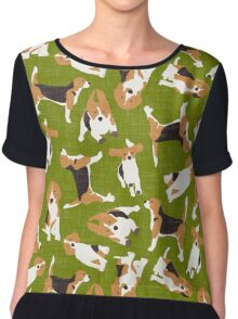 beagle scatter green Chiffon Top