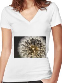 Dandelion Seedhead - close up Women's Fitted V-Neck T-Shirt