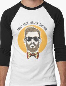 Hipster Summer Emblem Men's Baseball ¾ T-Shirt