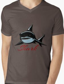 Shark Emblem Mens V-Neck T-Shirt