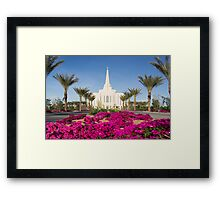 Gilbert Arizona Temple - Red Flowers - 30x20 Framed Print
