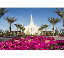 Gilbert Arizona Temple - Red Flowers - 30x20 Photographic Print