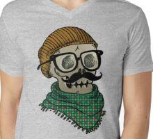 Hipster Skull Mens V-Neck T-Shirt