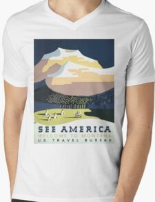 See America Welcome To Montana Vintage Travel Poster Mens V-Neck T-Shirt