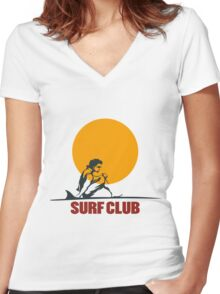 Surf club emblem Women's Fitted V-Neck T-Shirt