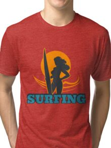 Surfing Colorful Emblem Tri-blend T-Shirt