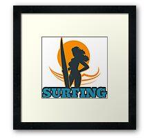 Surfing Colorful Emblem Framed Print