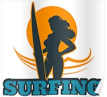 Surfing Colorful Emblem Poster