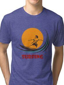 Surfing man emblem Tri-blend T-Shirt