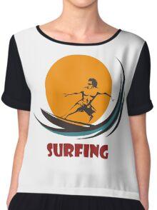 Surfing man emblem Chiffon Top