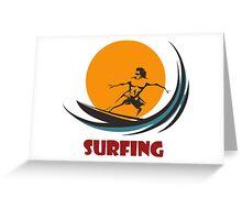Surfing man emblem Greeting Card