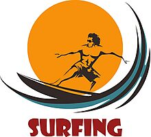 Surfing man emblem Photographic Print