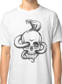 Snake and Skull Engraving Illustration Classic T-Shirt