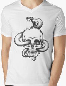 Snake and Skull Engraving Illustration Mens V-Neck T-Shirt
