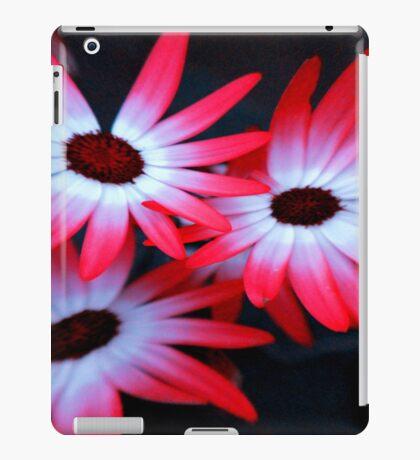 Neon flowers on Black background iPad Case/Skin