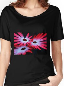 Neon flowers on Black background Women's Relaxed Fit T-Shirt