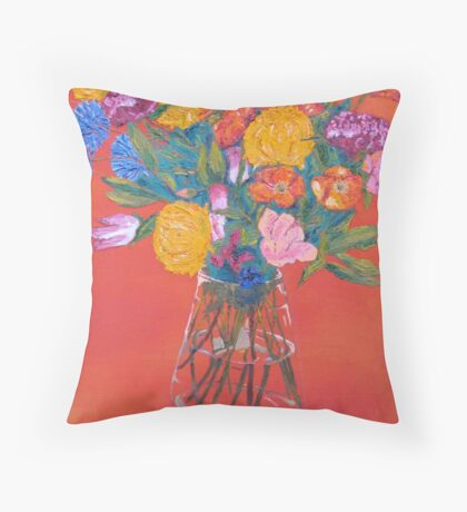 Orange room flowers in a vase Throw Pillow