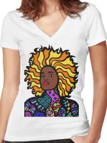 Afro Punk Women's Fitted V-Neck T-Shirt